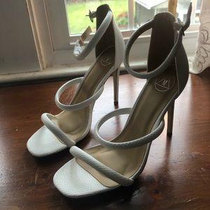 White Snakeskin Heels